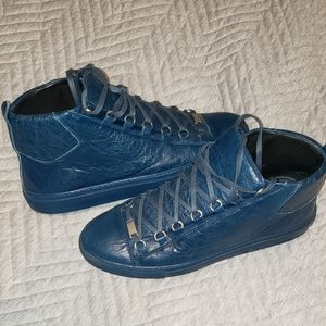 Balenciaga navy blue leather shoed
